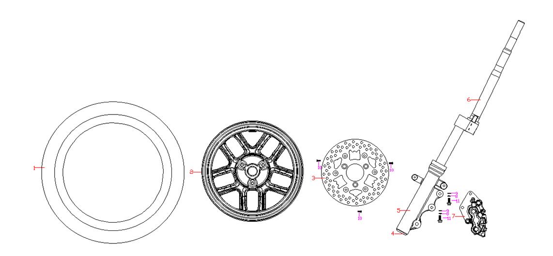 Framhjul - Frambroms - Styrkrona - Stötdämpare fram