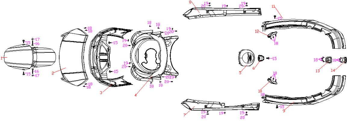 Framskärm - Sidokåpor - Frontkåpor