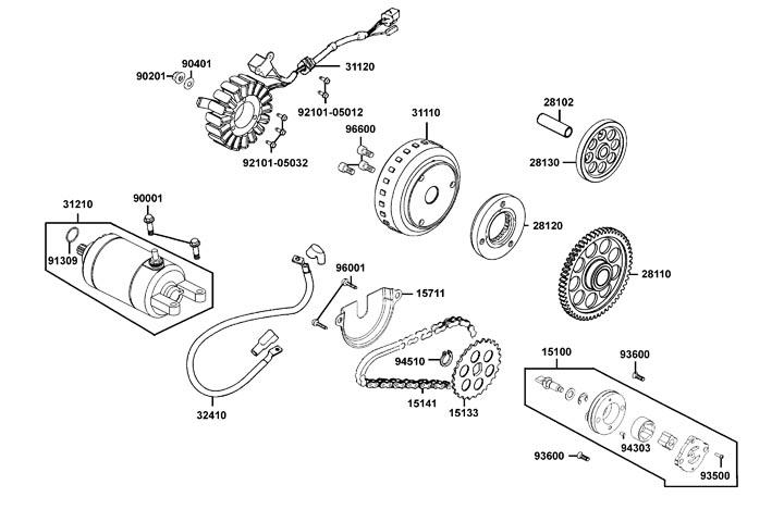 Startmotor - Tändplatta - Oljepump
