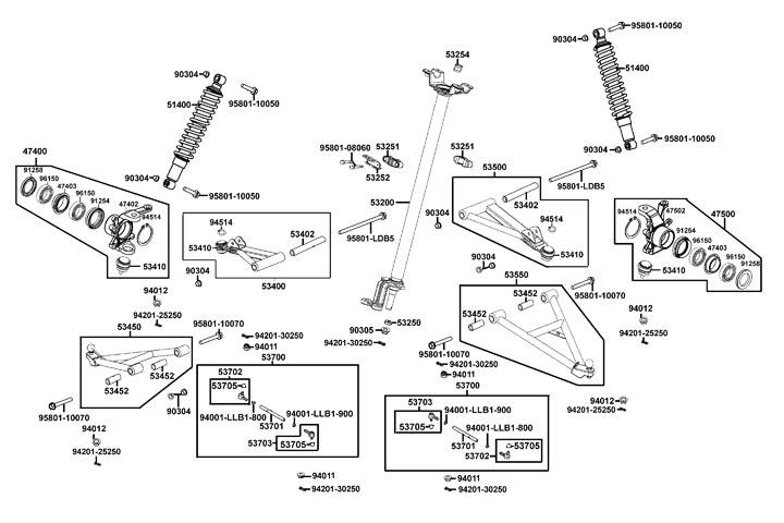 Hjulupphängning fram - Styrleder - A-armar - Stötdämpare