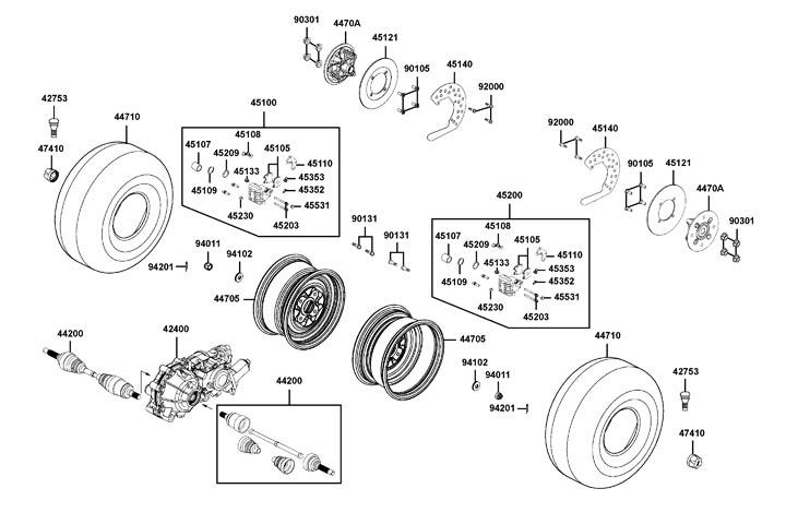 Framhjul - Frambroms - Drivaxlar fram
