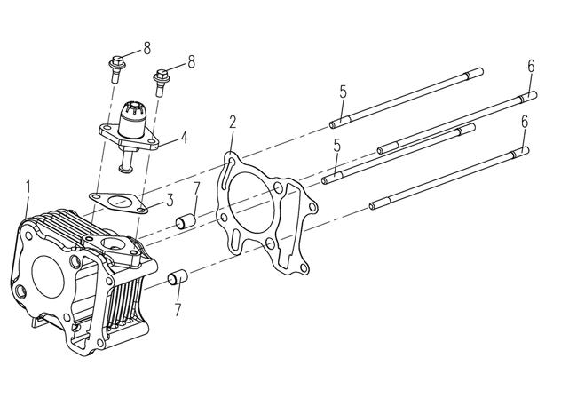 Cylinder - Kedjespännare - Pinnbultar