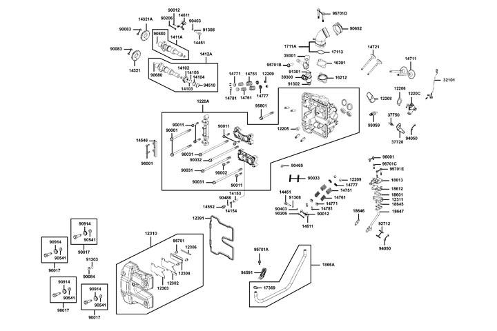 Topplock - Ventilkåpa - Ventiler - Kamaxel - Insug - Tändstift
